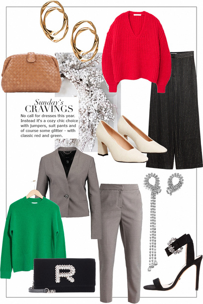 teetharejade blogger bag jewels sweater pants shoes jacket red sweater winter outfits suit green sweater sandals clutch pumps heels earrings