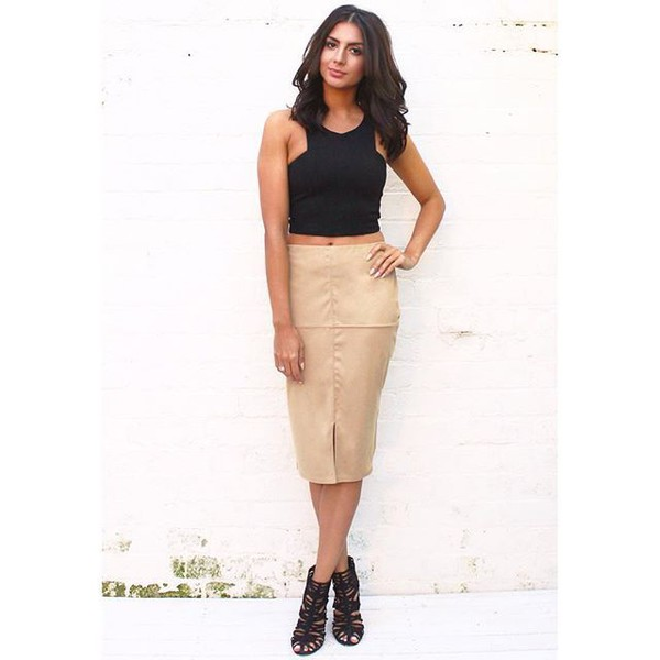 Panelled Faux Suede Split Front Pencil Skirt in Soft Camel