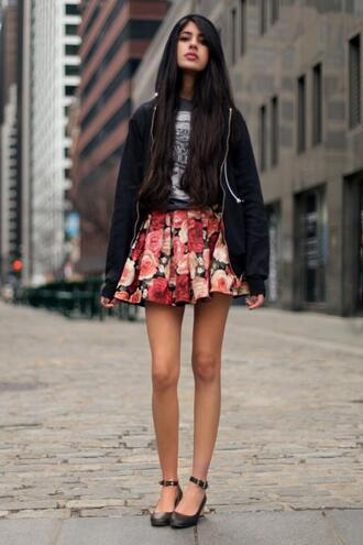 flowers skirt pink flowers short