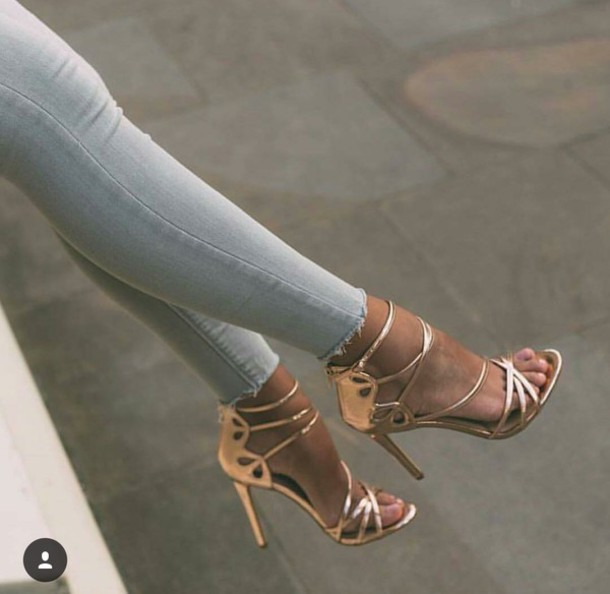 fe422cd35bc Office Spindle Rose Gold Mirror Strappy Heeled Sandals at asos.com