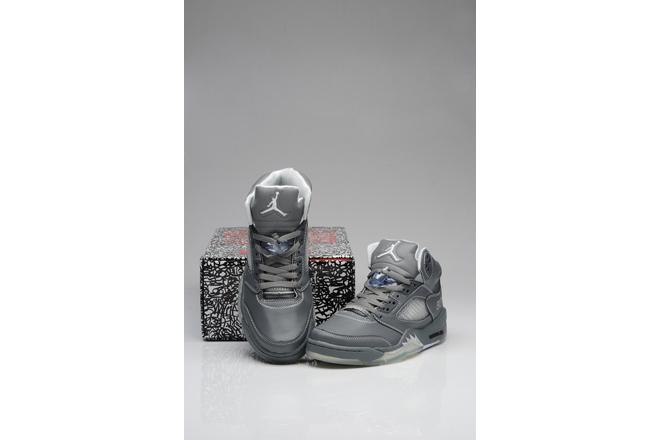 Grey/White Glow in Dark Retro Basketball Sneakers - Jordans 5 Nike Michael - $ 92.89 price sale