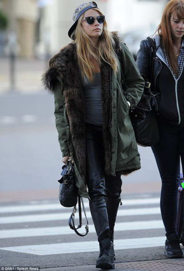 jacket cara delevingne winter outfits jacket coat winter cold blue fur