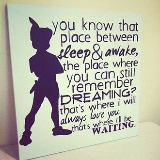 home accessory disney art love dreaming peter pan quote on it poster kids room