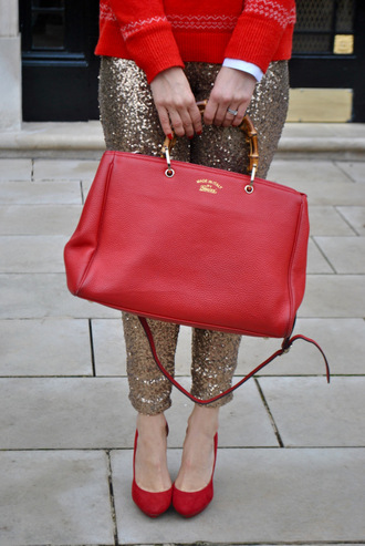 pants sequin pants sequins gold sequins bag red bag handbag pumps pointed toe pumps high heel pumps red heels party outfits holiday season shoes