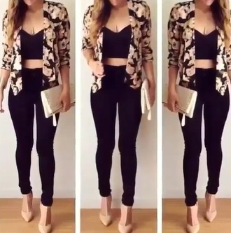 jumpsuit black floral spring necklace jacket gold classy elegant cute romper coat