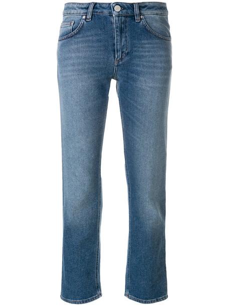 Totême jeans straight jeans cropped women cotton blue