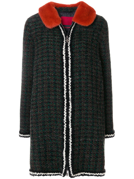 coat fur women wool green