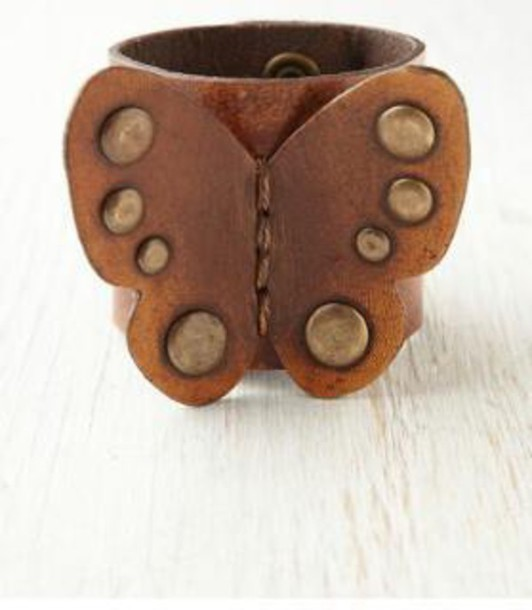 jewels butterfly leather cuff bracelet studded bracelet bracelets leather