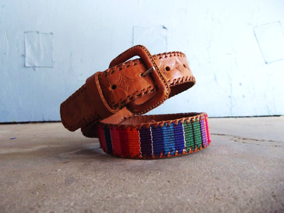 Guatemalan vivid multicolored leather and by southwestvintage