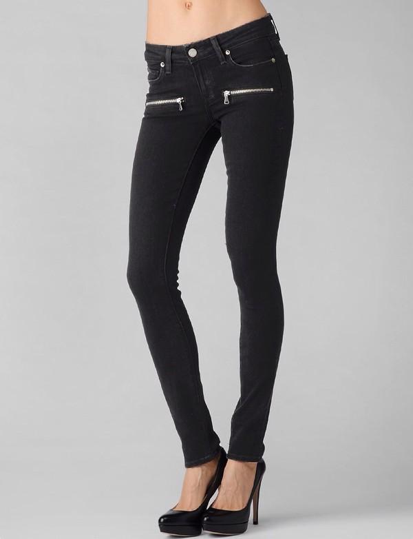 Jeans: paige, black skinny jeans, skinny jeans, black, zip ...