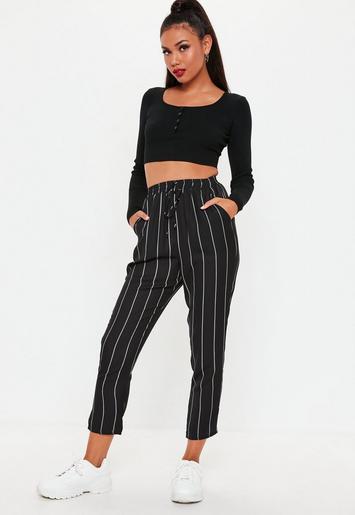 Missguided - Black Stripe Tie Waist Trousers