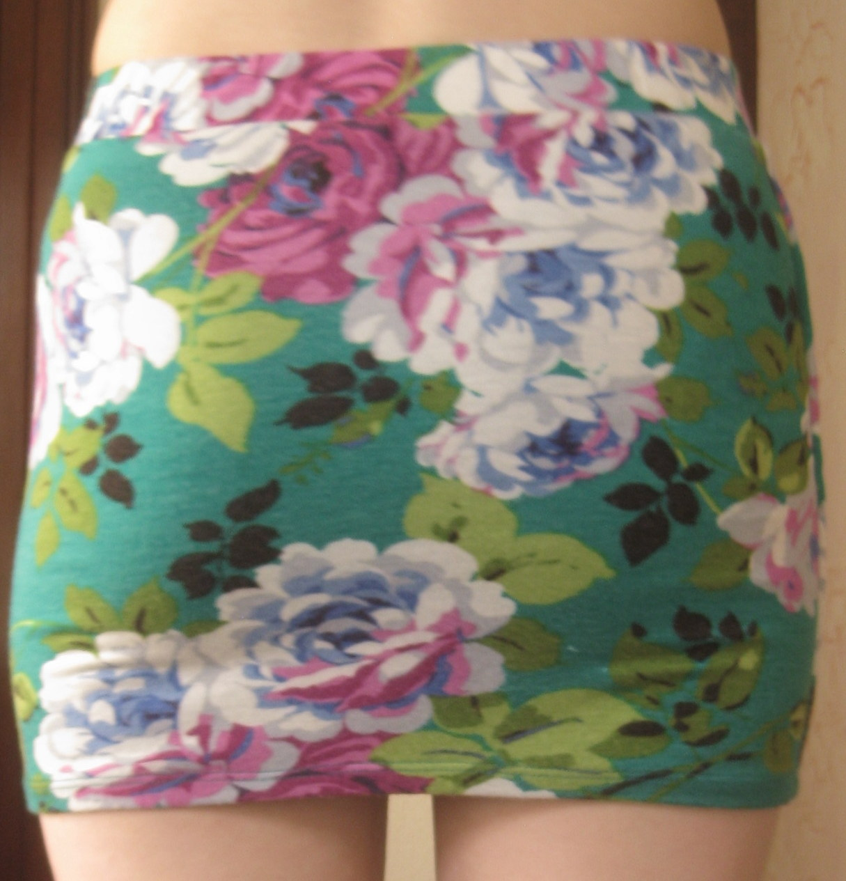 Cute teal and purple floral bodycon skirt size s from nightmere clothing on storenvy
