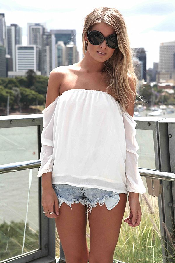 White Three-Quarter/Long Sleeve Top - White Off the Shoulder Top | UsTrendy