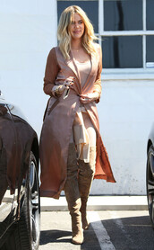 shoes,boots,khloe kardashian,coat,dusty pink,nude,top,kardashians,over the knee boots,All pink outfit