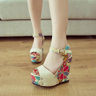 shoes sandals high heels tropical flowers floral cute purple blue red yellow indie coachella hipster platform shoes tumblr