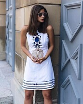dress,tumblr,mini dress,white dress,halter dress,halter neck,embroidered,bag,clutch,sunglasses