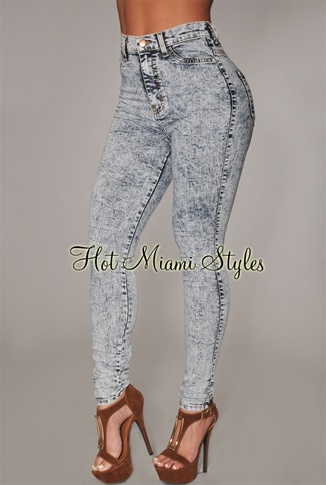 Bleached Denim High-Waist Skinny Jeans
