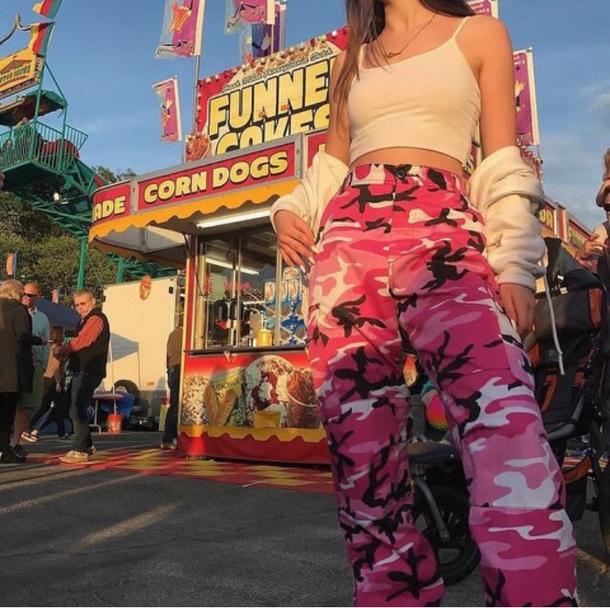 2fe72515ccb pants camouflage camo pants pink