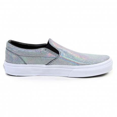 f2c8b068638e73 Vans Women s Classic Slip On Leather Matte Iridescent Silver