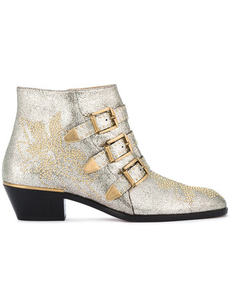 glitter women boots ankle boots leather grey metallic shoes