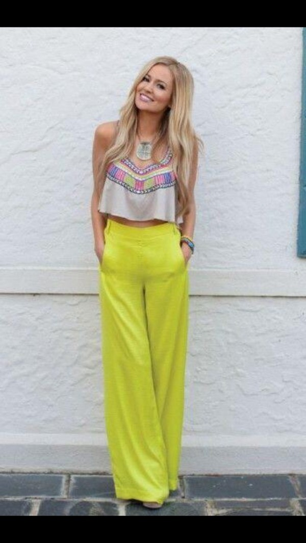pants green cute summer high waisted pants wide-leg pants beach