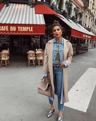 coat jeans trench coat jacket denim jacket denim blue jeans shoes bag handbag