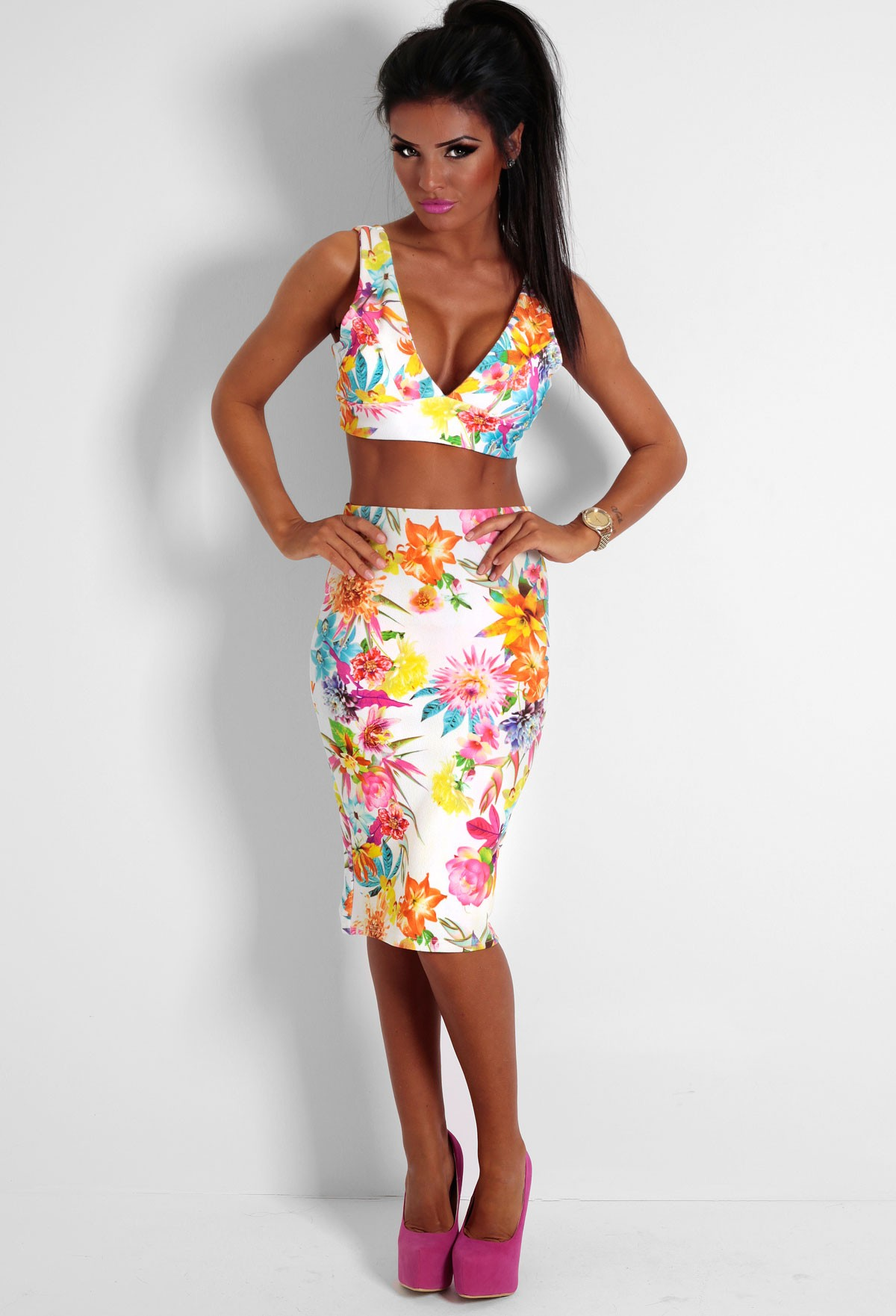 Aspire Tropical Print Bodycon Midi Skirt | Pink Boutique