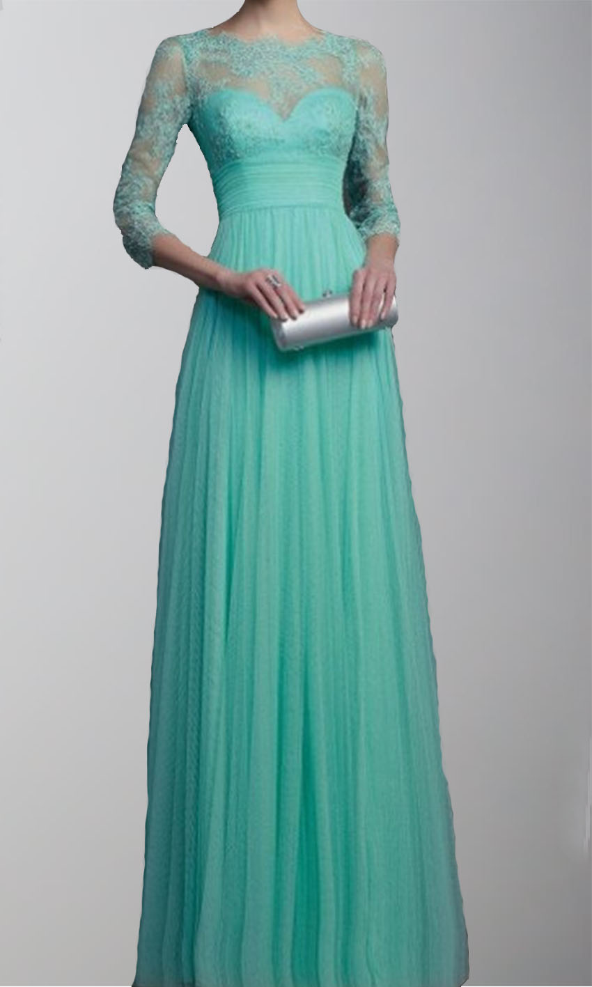 3/4 sleeves Lace Applique 2015 Long Prom Dresses KSP269 [KSP269 ...