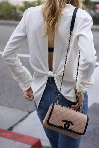 mind body swag blogger top jeans shoes sunglasses bag white top chanel bag spring outfits