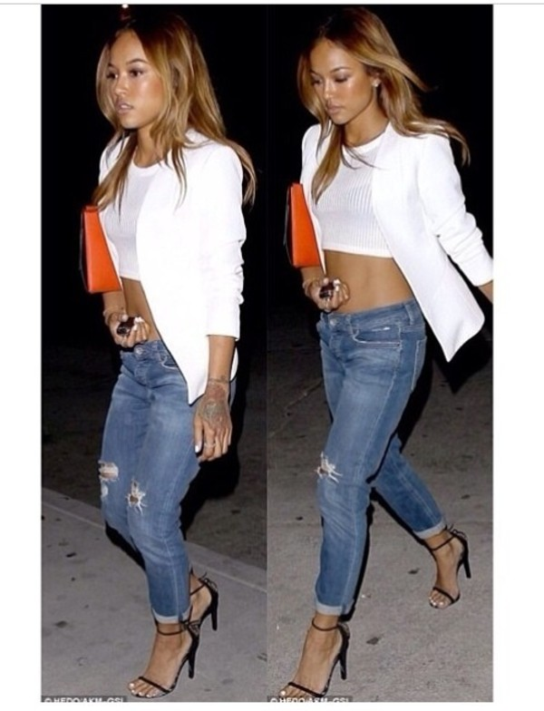 jeans white karrueche boyfriend jeans crop tops blazer shirt jacket coat fall outfits blouse
