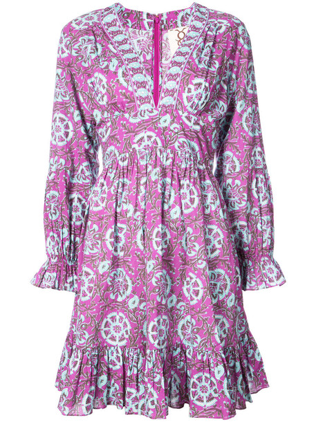 Figue dress women cotton purple pink