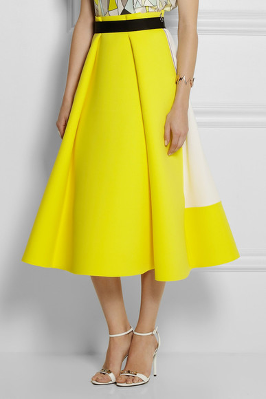 skirt midi skirt yellow roksanda ilincic stretch-neoprene and wool-crepe midi skirt