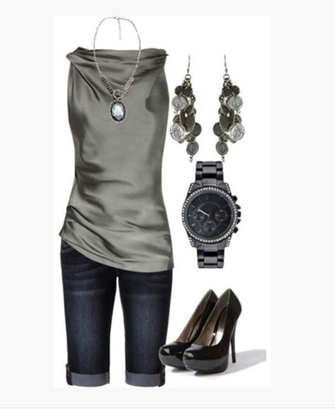 shirt blouse clothes top jeans high heels sleeveless blouse grey blouse silver blouse cowl neck necklace pendant capris black high heels pumps black pumps watch earrings leaf earrings dangled earrings outfit