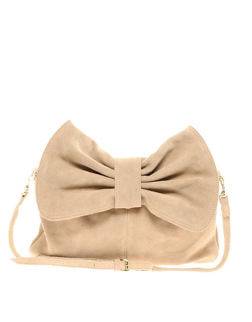 Mango beige bow clutch bag