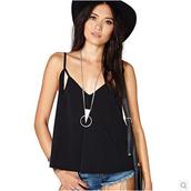 top,u-shaped vest,hollow vest,v-neck sling,halter sling,black sling,back hollow short vest