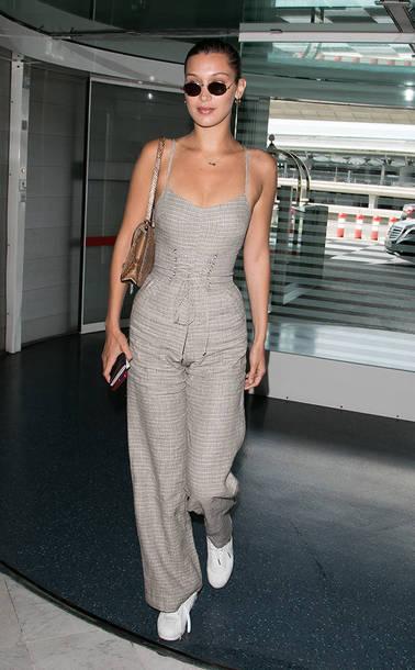4dd395da244b jumpsuit pants top bella hadid model off-duty wide-leg pants shoes