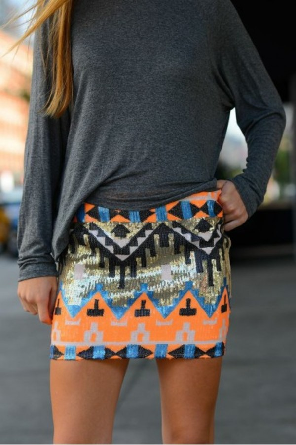 skirt tribal pattern glamour sequins sequin skirt fashion clothes clothes instagram style instastyle women girl ootd look of the day lookbook neon skirt aztec skirt tribal skirt aztec print skirt