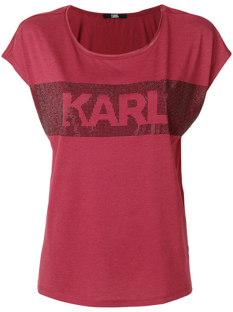 Karl Lagerfeld - embellished logo T-shirt - women - Cotton/Lyocell - S, Red, Cotton/Lyocell