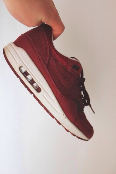 shoes bordeaux red nike nike air nike air max nike air max 1 beautiful love it hipster