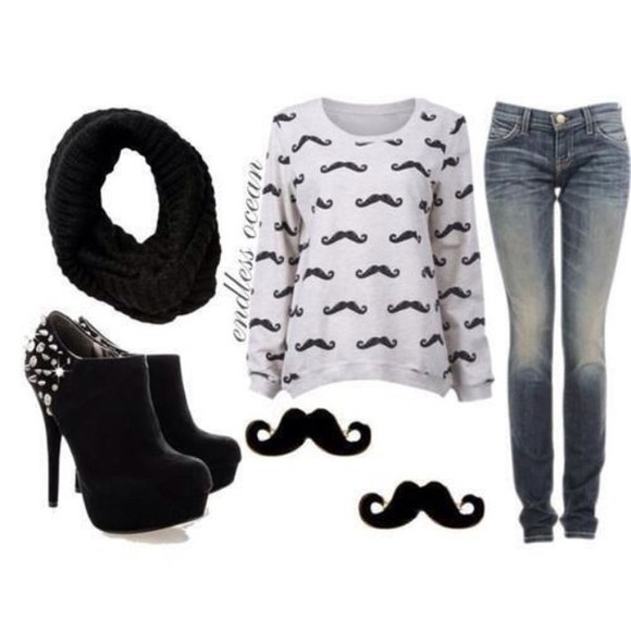 mustache shirt shoes jeans
