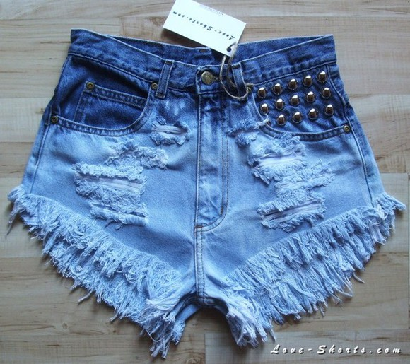 shorts jeans ombre summer acid wash studded shorts destryed shorts
