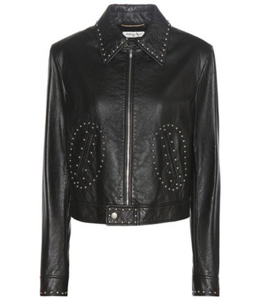 jacket leather jacket embellished leather black