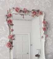 home accessory,rose,mirror accesories,bedroom,mirror,romantic,bathroom,home furniture,pink,white,home decor,decoration,carved,long,big,full length,girly