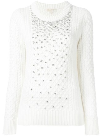 jumper women embellished nude wool sweater