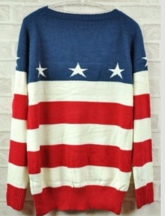 sweater red white and blue