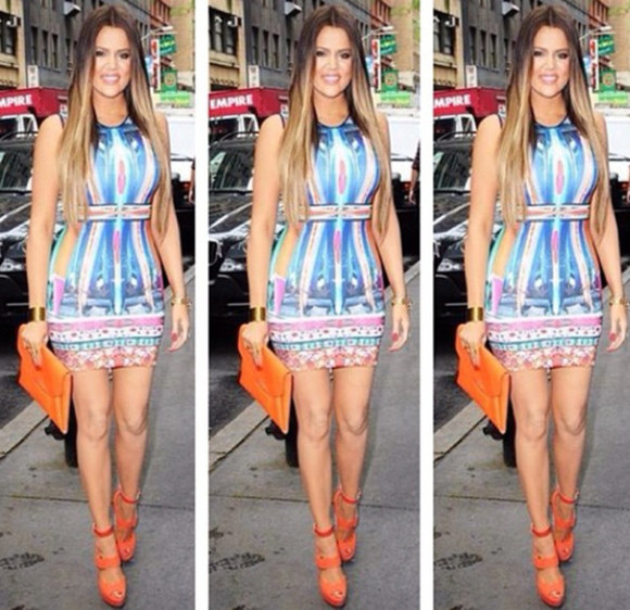 blue multicolor dress pastel kim kardashian