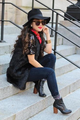 gracefullee made blogger sunglasses hat make-up jewels