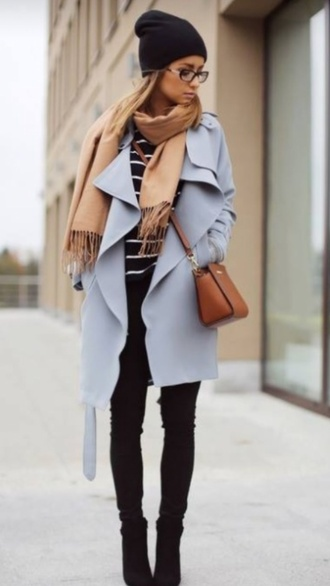 coat light blue blue coat pastel coat pastel blue scarf tan scarf black jeans black boots boots striped sweater winter coat winter outfits outfit streetstyle cream scharf brown bag blue pale brown black hat bags and purses fashion classy baby blue long coat violet purple coat purple trench coat