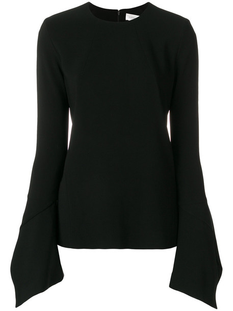 blouse women spandex bell sleeves black silk top