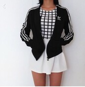 shirt,jacket,adidas,adidas jacket,american apparel,tumblr,tumblr outfit,tumblr girl,tumblr clothes,black,white,black and white,black and white dress,skirt,sweater,black jacket